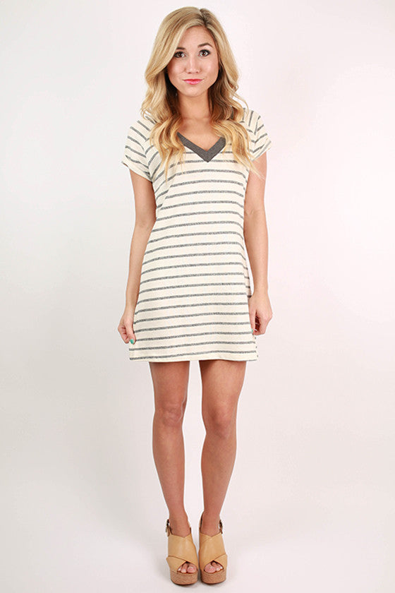 Cozy Girl Stripe Tee Dress