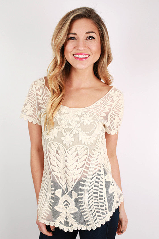 Tea Time Lace Top in Ivory