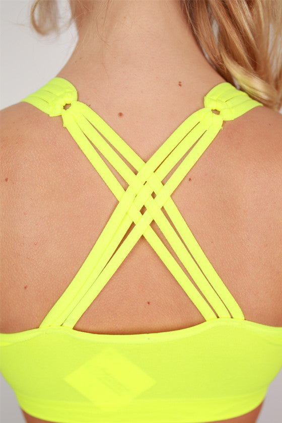 Criss Cross Active Bra in Neon Yellow