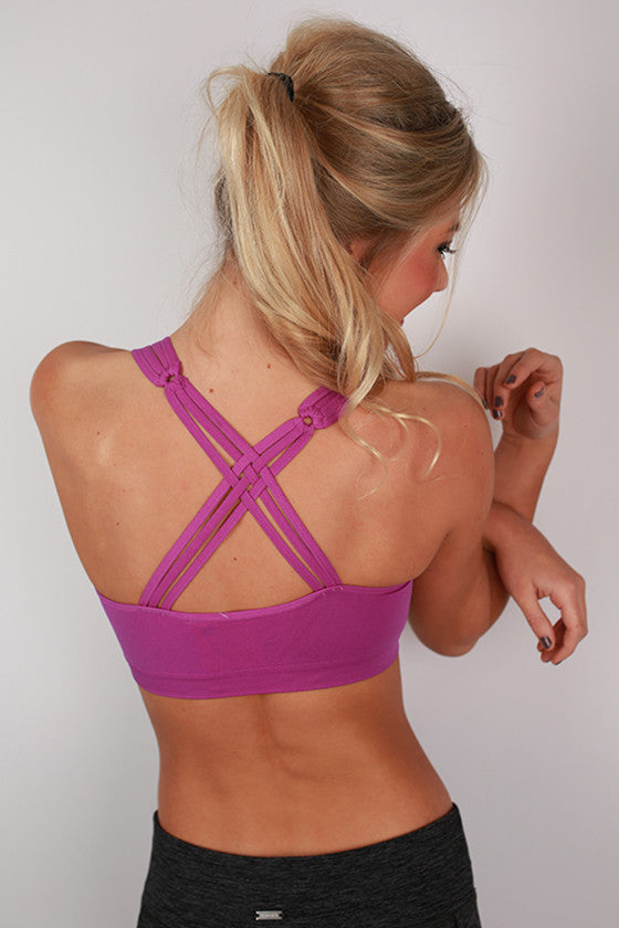 Criss Cross Active Bra in Royal Lilac