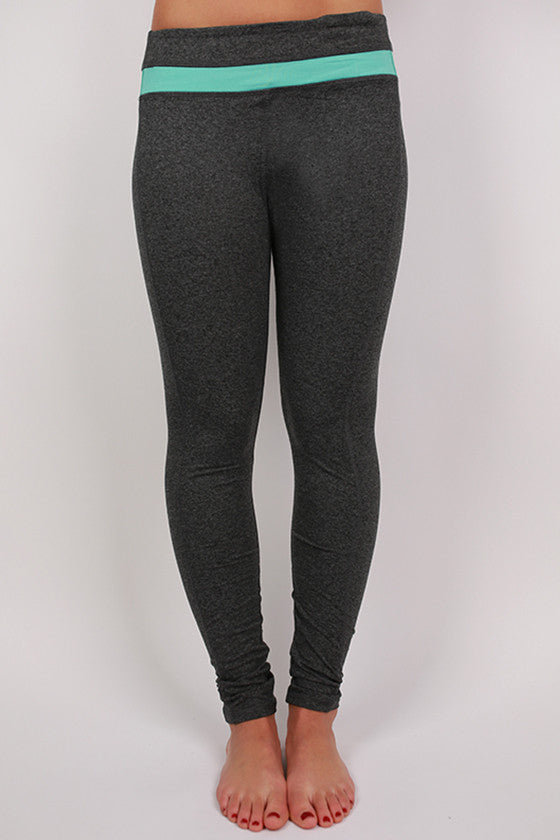Charcoal Yoga Pant in Aqua Stripe