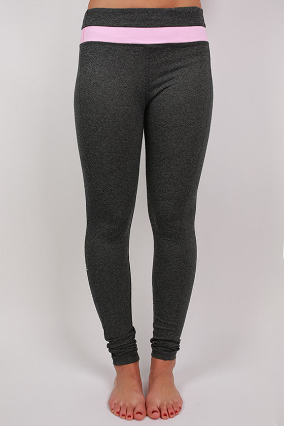 Charcoal Yoga Pant in Pink Stripe