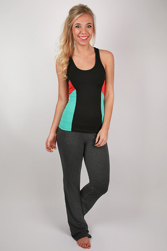 Color Block Active Tank in Black