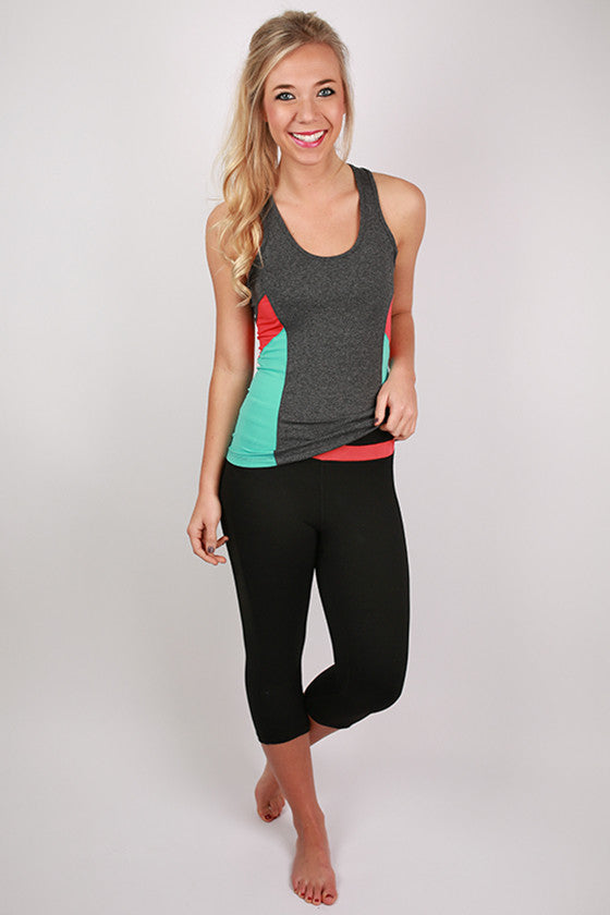 Color Block Active Tank in Charcoal