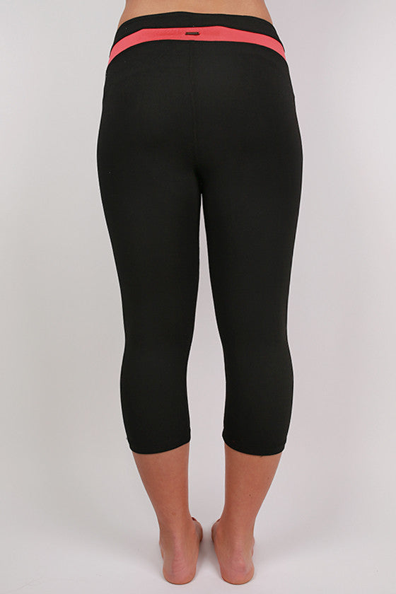 Black Capri Active Pant in Coral Stripe