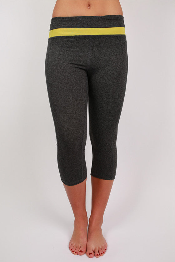 Charcoal Capri Active Pant in Lime Stripe
