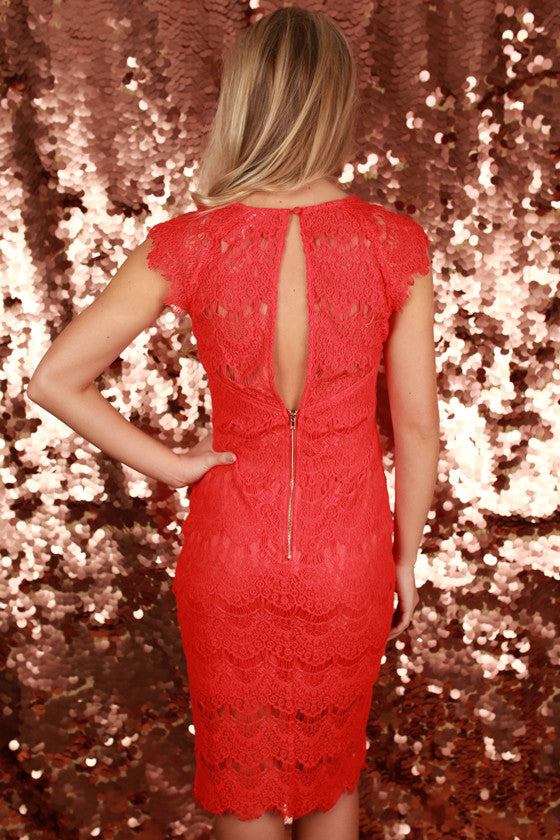 Forever Divine Lace Dress in Red