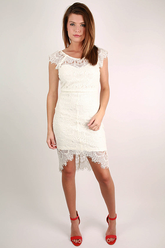 Forever Divine Lace Dress in White