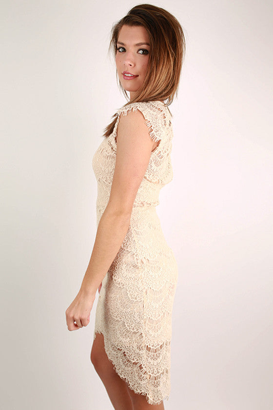 Forever Divine Lace Dress in Beige