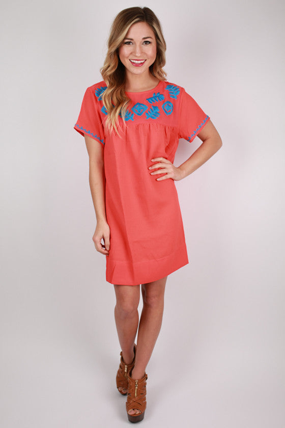 Sweet & Southern Shift Dress in Coral