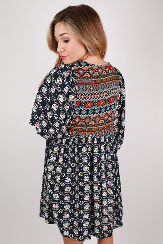 Perfect Day Aztec Tunic in Navy