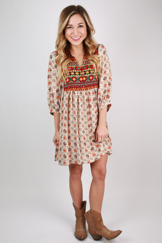 Perfect Day Aztec Tunic in Beige