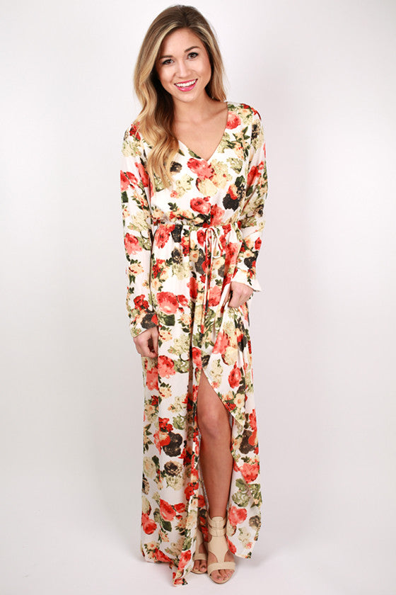 Floral Frenzy Maxi Dress in Ivory