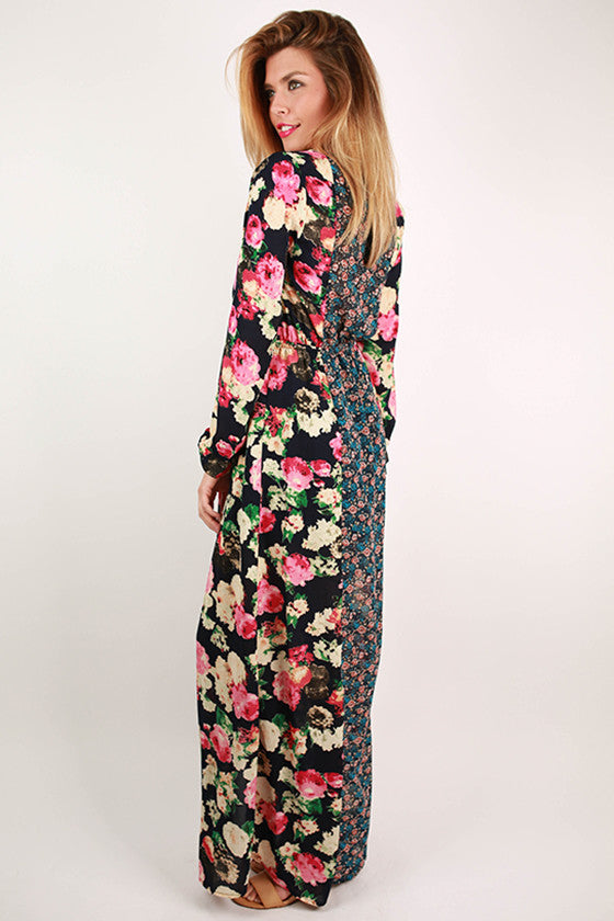 Floral Frenzy Maxi Dress in Navy
