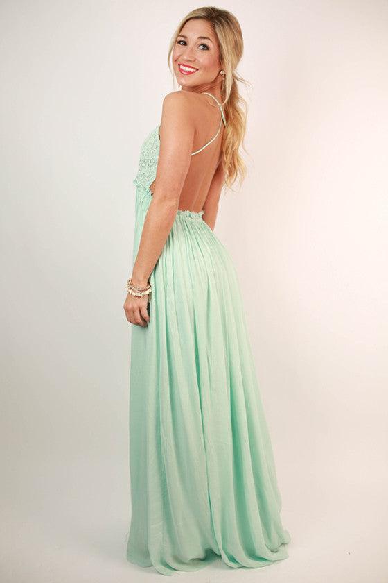 The Grand Reveal Maxi Dress in Aqua