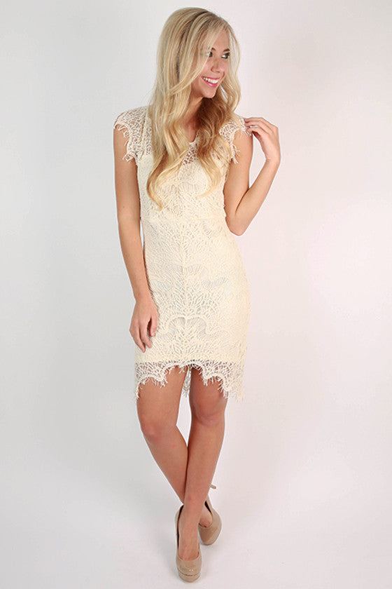 Divine It's Mine Lace Dress in Ivory