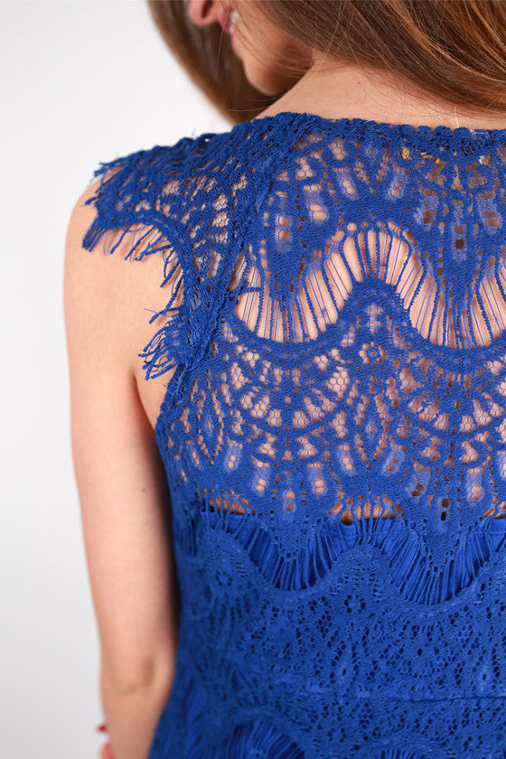 Divine It's Mine Lace Dress in Royal Blue