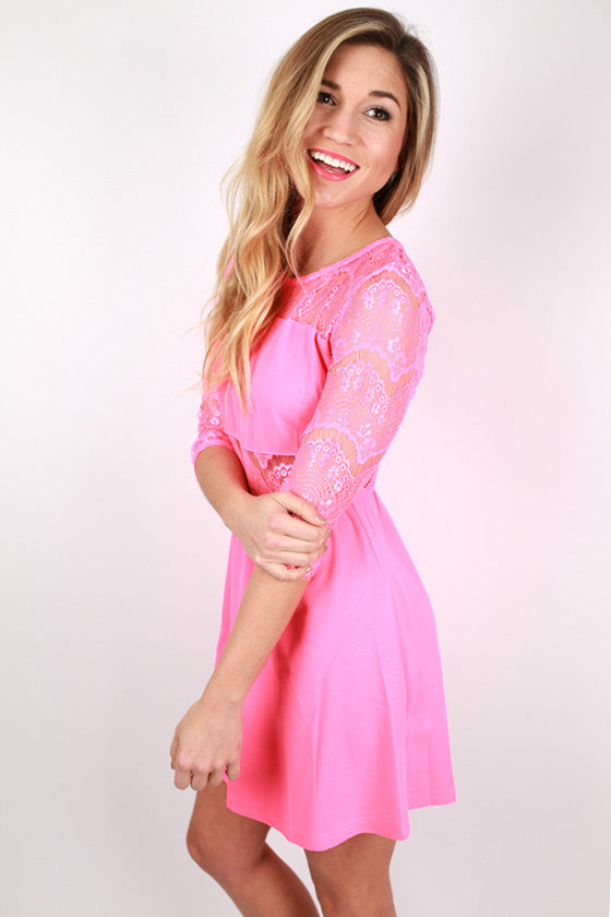 Downtown Girl's Night Lace Dress in Hot Pink