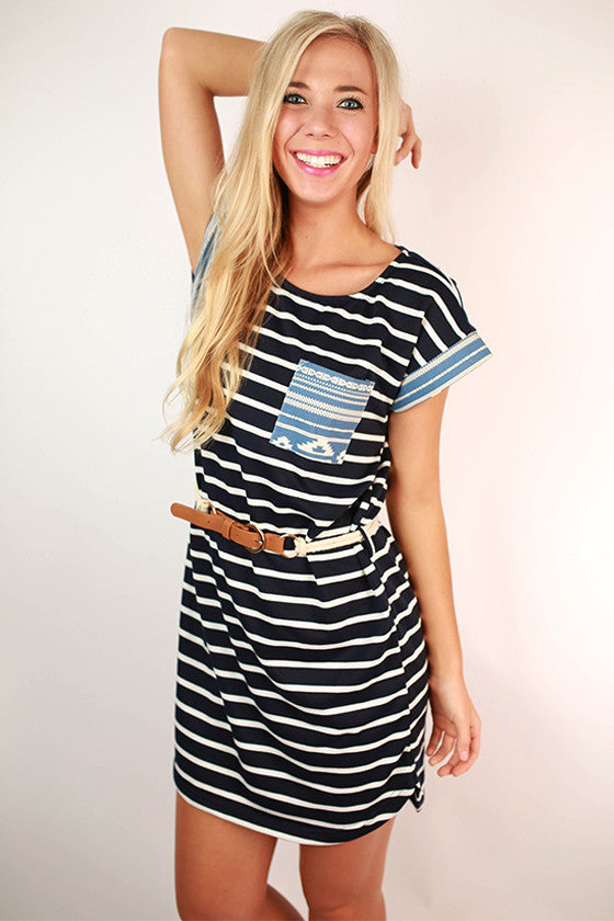 Anything Could Happen Belted Stripe Dress in Navy
