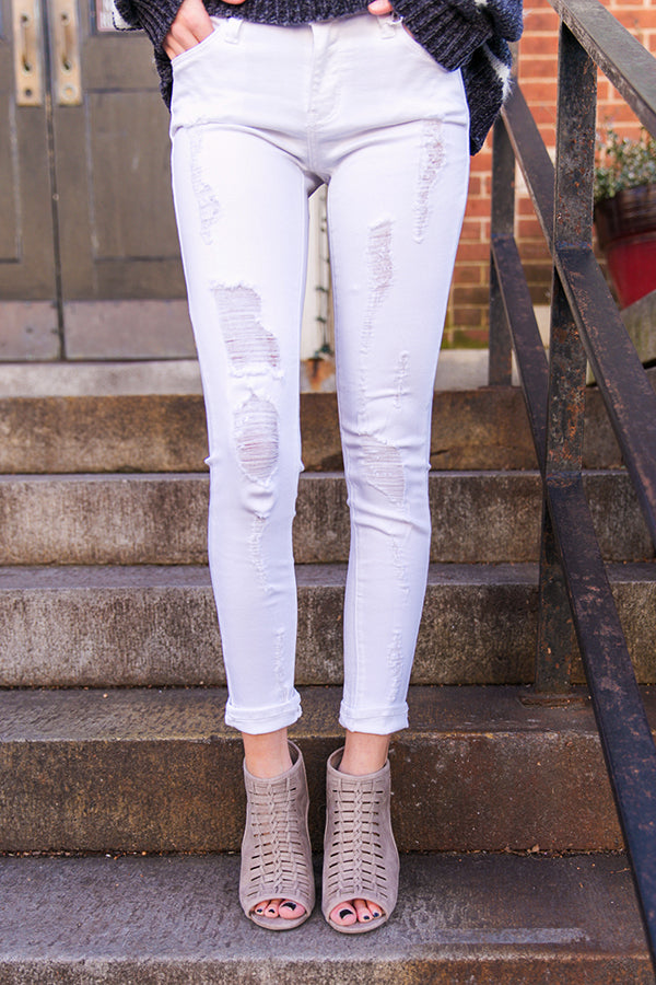 Distressed Skinny in Optic White