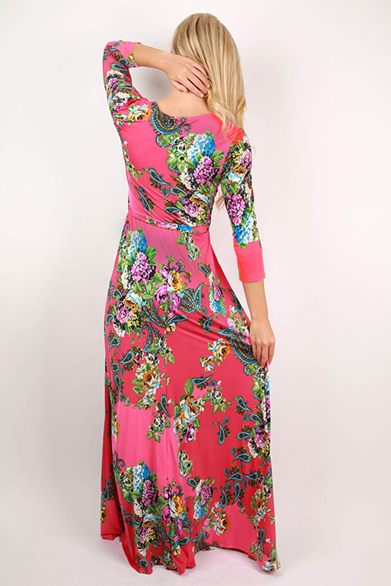 Smell The Roses Maxi Dress in Hot Pink