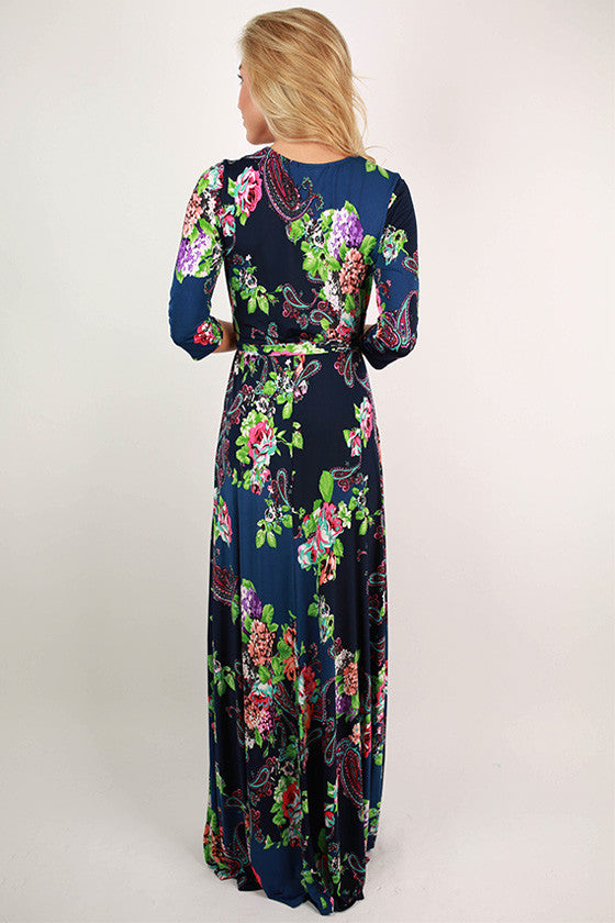 Smell The Roses Maxi Dress in Navy