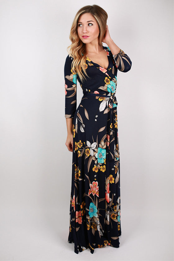 Fields Of Love Maxi Dress in Navy
