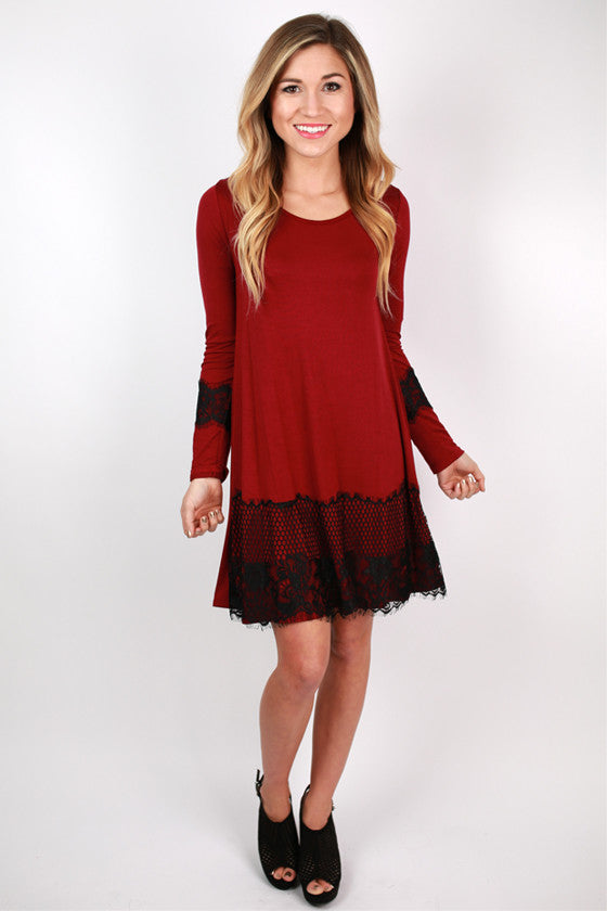 Downtown Dancing Dress in Ruby Wine