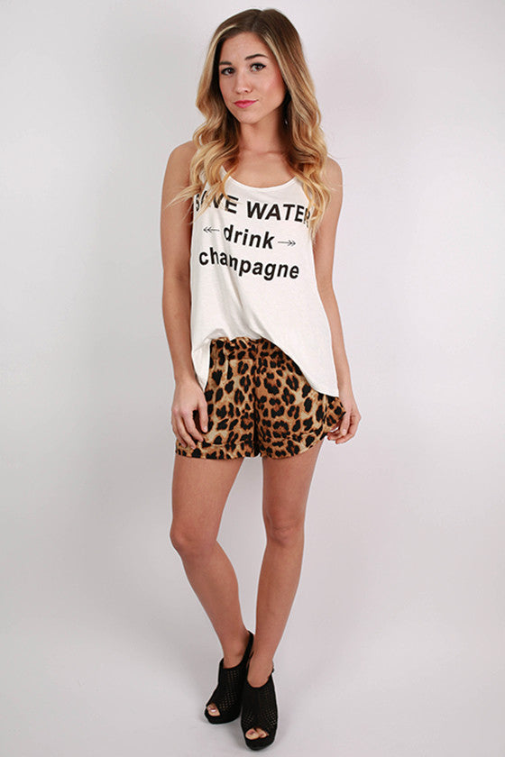 Save Water Drink Champagne Tank in White