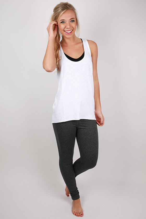 Racer Back Loose Top in White