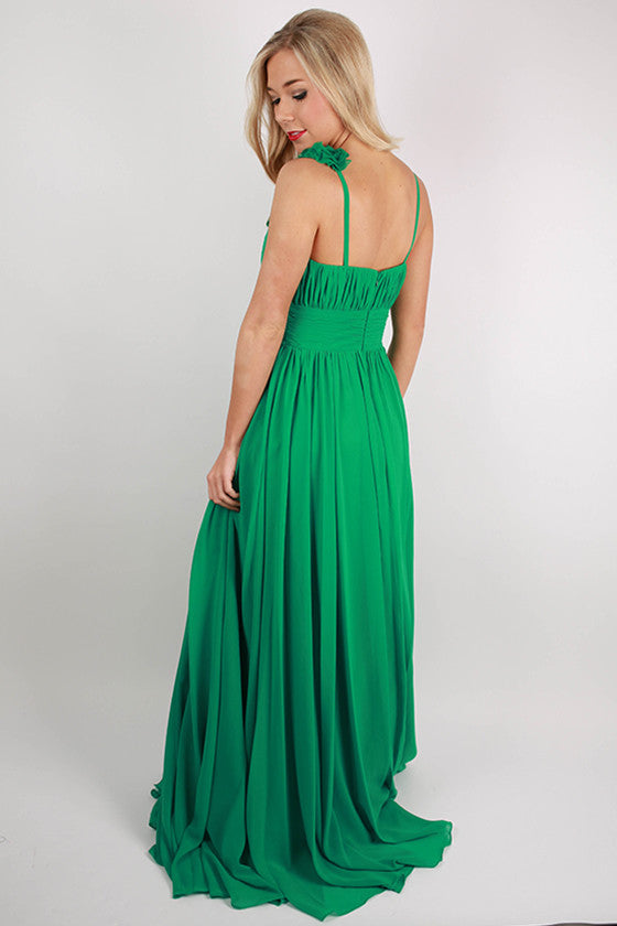 Prettiest Peonies Maxi Dress in Emerald