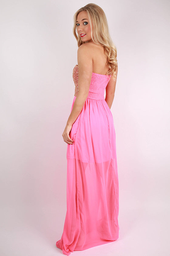 Romance Me Maxi Dress in Neon Pink
