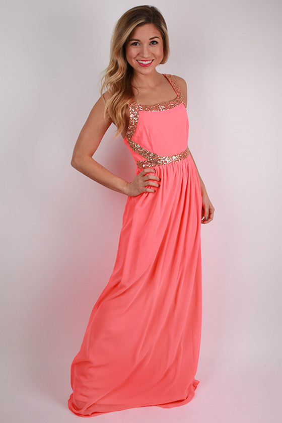 Wine & Roses Maxi Dress in Neon Coral