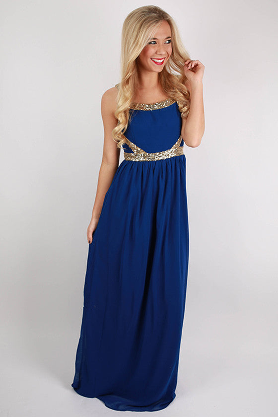 Wine & Roses Maxi Dress in Royal Blue