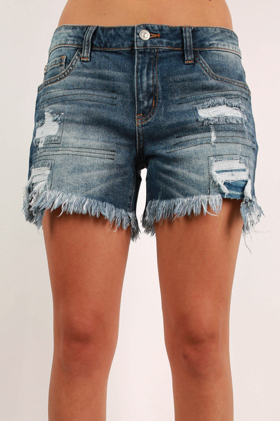 Patch Distressed Shorts in Medium Blue