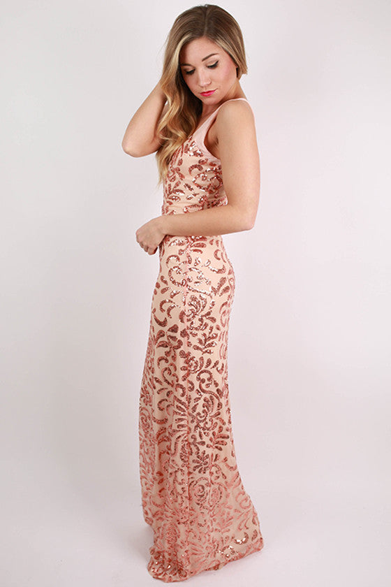 Sparkle With Me Maxi in Nude