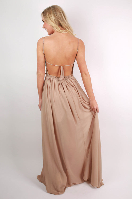 Oh So Divine Maxi Dress in Taupe