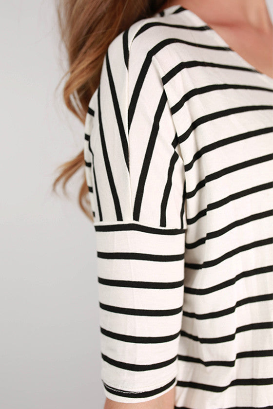 Beautiful On Repeat Stripe Tunic in Black