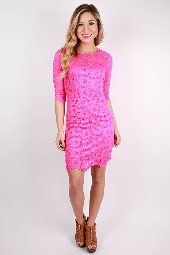 Wow Factor Lace Dress in Fuchsia