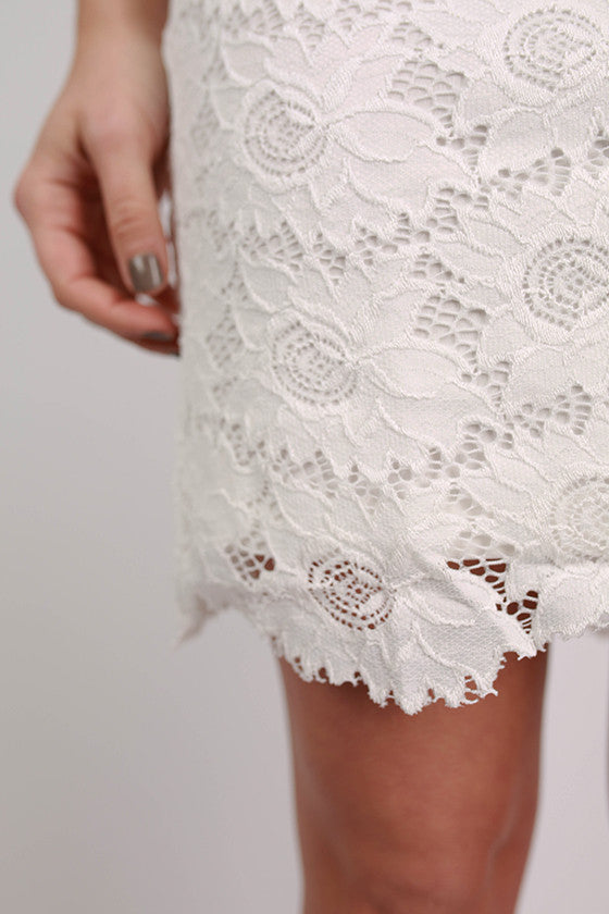 Wow Factor Lace Dress in White