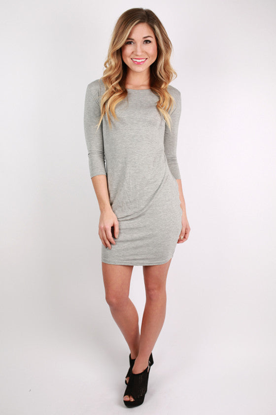 PIKO 3/4 Sleeve Dress in Grey