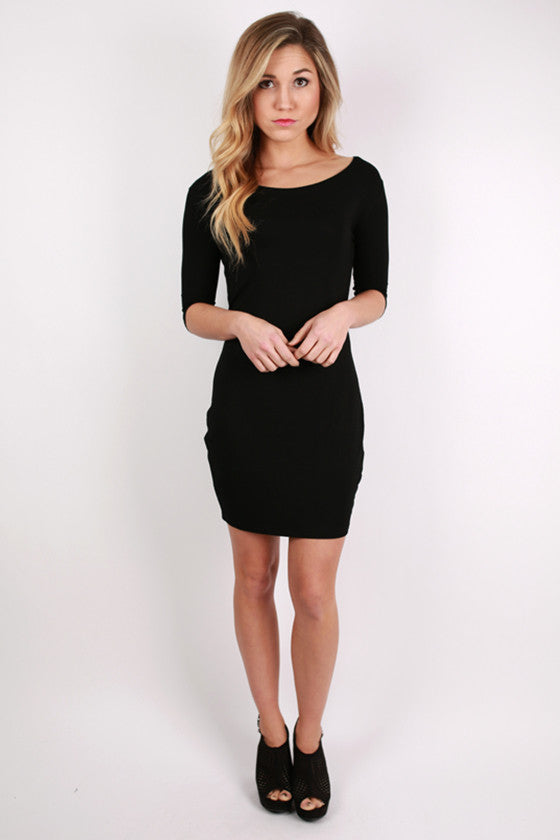 PIKO 3/4 Sleeve Dress in Black
