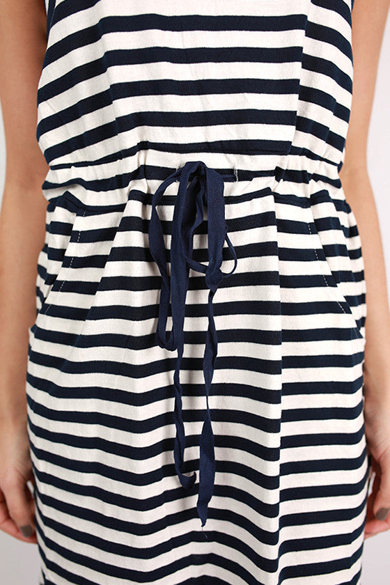 PIKO Striped Pocket Dress in Navy