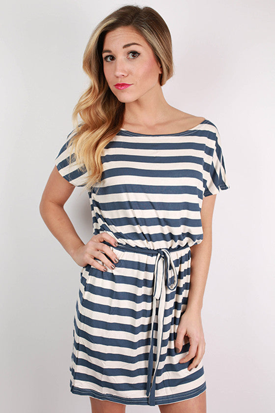 PIKO Relaxed Fit Stripe Dress in Blue