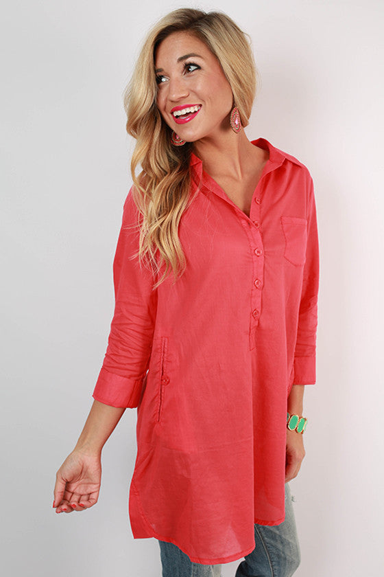 PIKO Henley Tunic in Coral