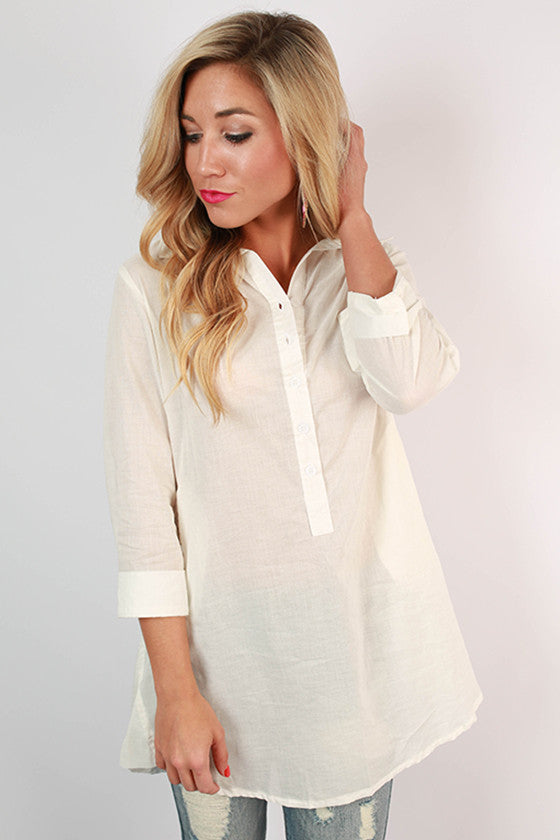 PIKO Henley Tunic in Off White