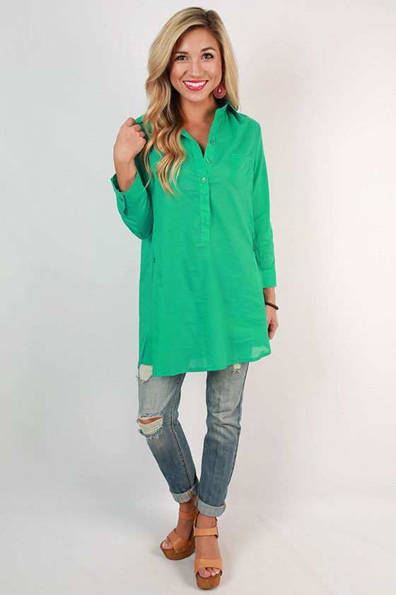 PIKO Henley Tunic in Turquoise