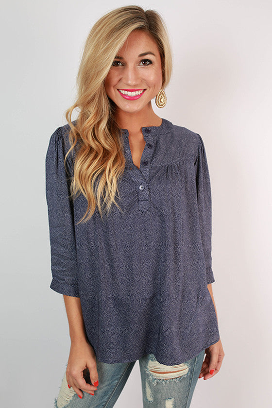 PIKO Polka Dot Henley Top in Navy