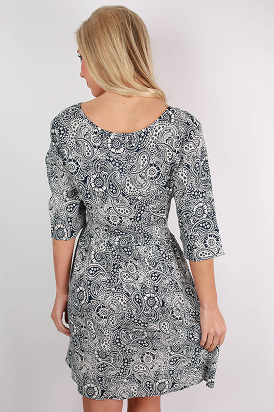 PIKO V-Neck Paisley Dress in Blue