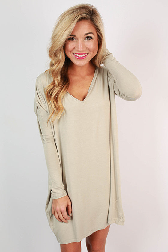 PIKO V-Neck Tunic in Light Khaki